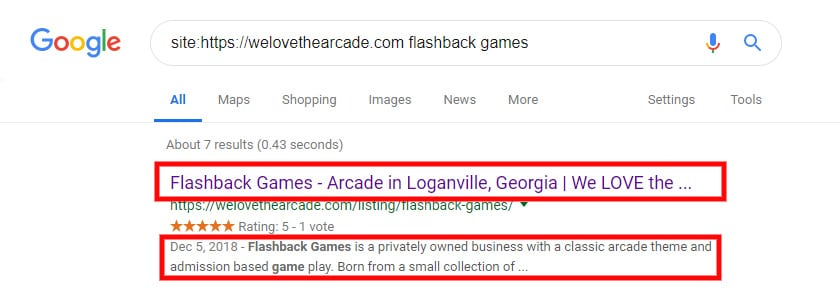 local seo optimized page title
