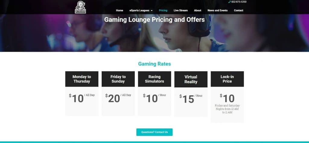 eSports Gaming Center Pricing Table