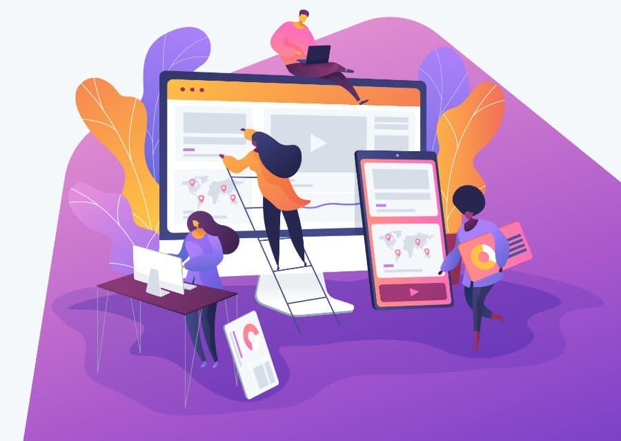 People building a great looking website