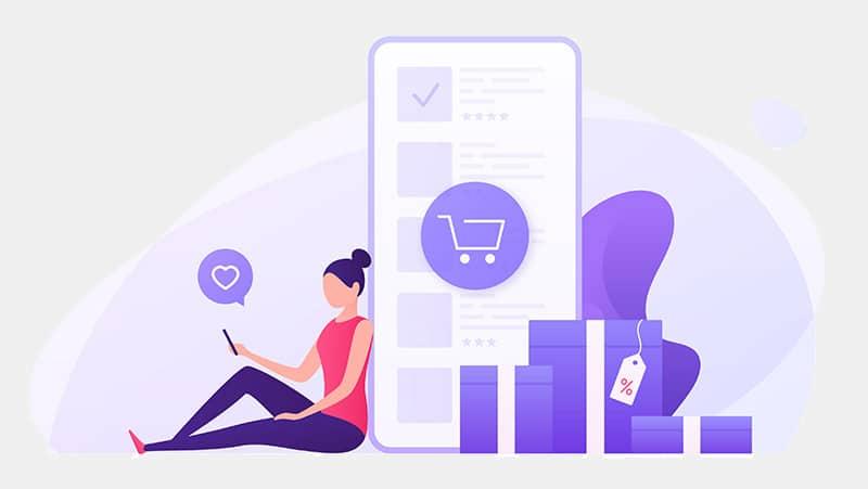 Mobile friendly ecommerce website illustration