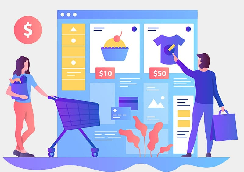 Shoppers buying products online illustration