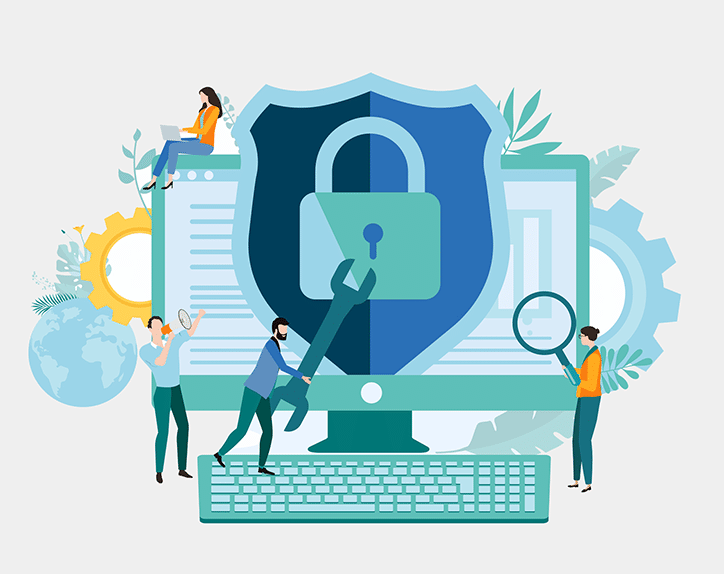 Website security and malware protection illustration