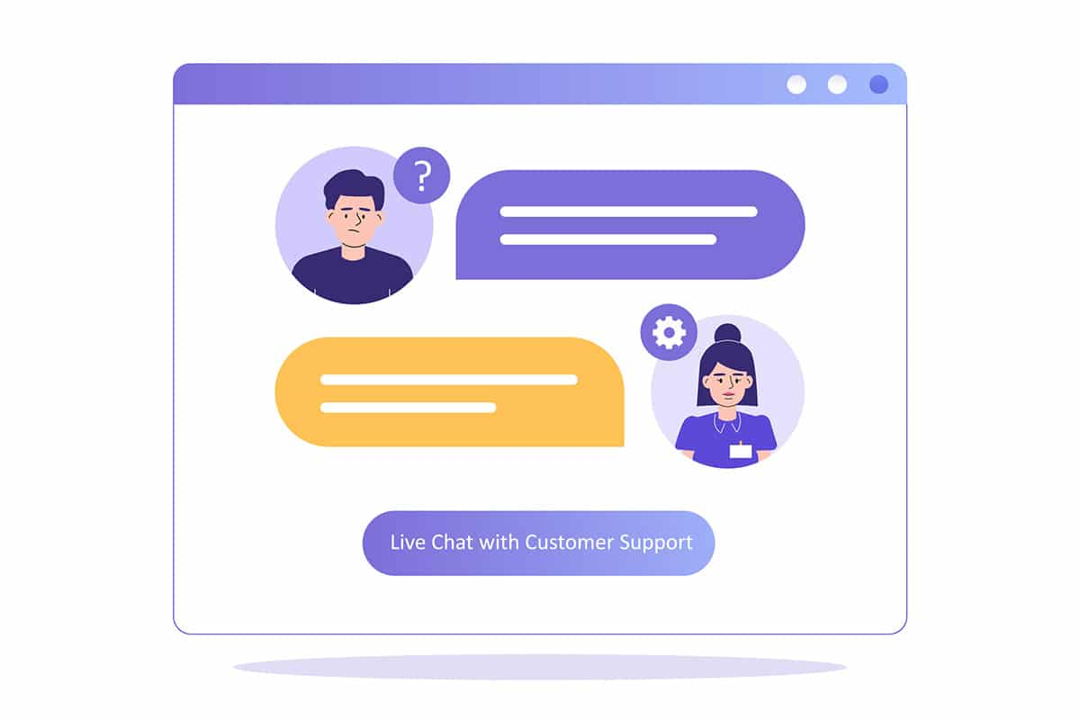 Live customer support chat for a website